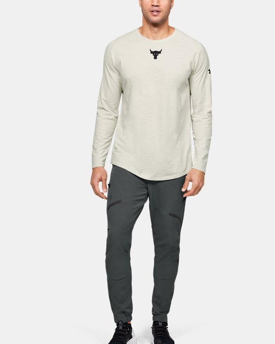 Men's Project Rock Charged Cotton® Long Sleeve, White, pdpMainDesktop image number 1