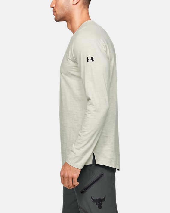 Men's Project Rock Charged Cotton® Long Sleeve, White, pdpMainDesktop image number 3