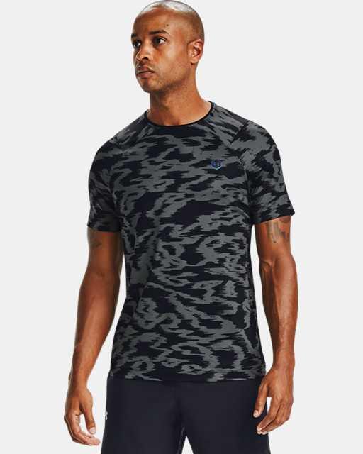 Men's UA RUSH™ HeatGear® Fitted Short Sleeve Printed