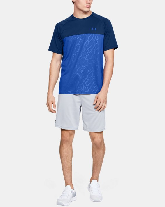 Men's UA Tech™ 2.0 Emboss Short Sleeve, Blue, pdpMainDesktop image number 1