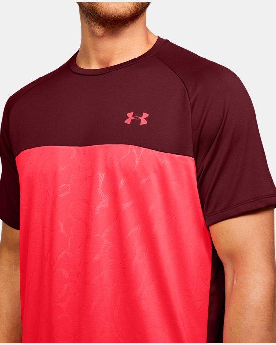 Men's UA Tech™ 2.0 Emboss Short Sleeve, Red, pdpMainDesktop image number 6