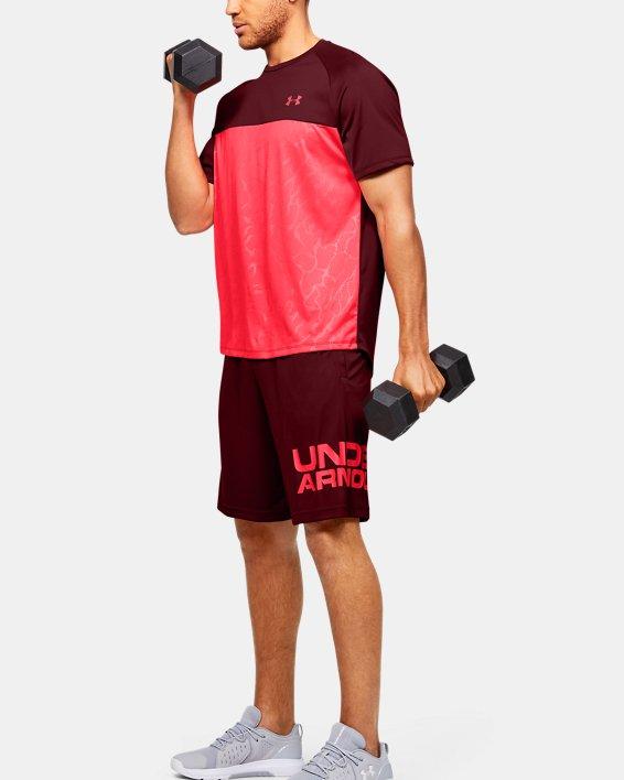 Men's UA Tech™ 2.0 Emboss Short Sleeve, Red, pdpMainDesktop image number 1
