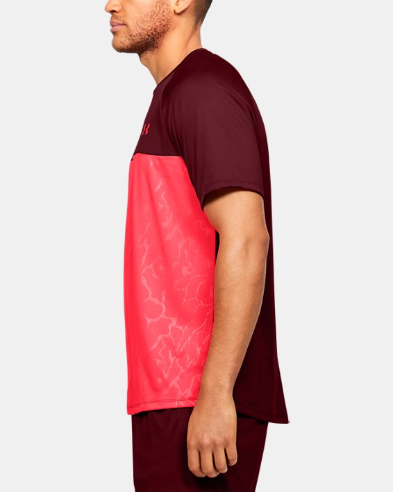Men's UA Tech™ 2.0 Emboss Short Sleeve, Red, pdpMainDesktop image number 3