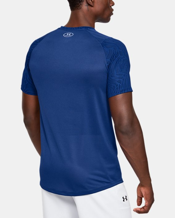 Men's UA MK-1 Jacquard Short Sleeve, Blue, pdpMainDesktop image number 2
