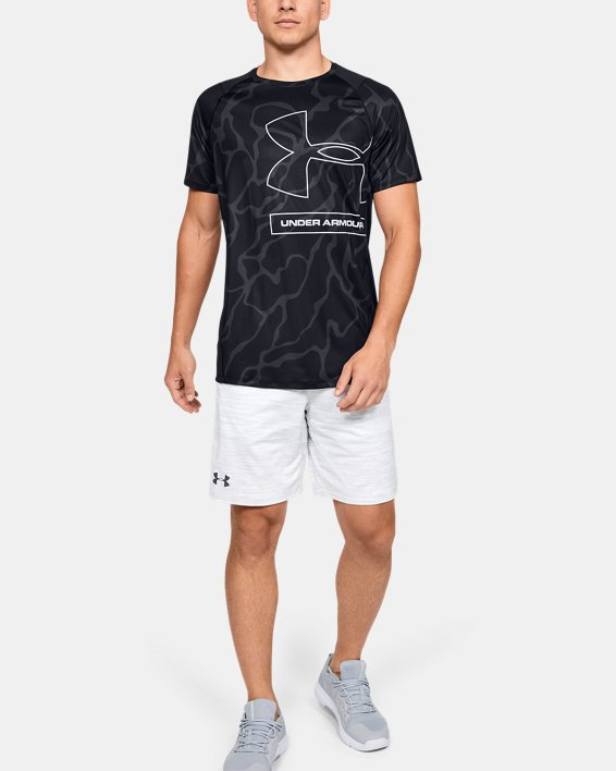 Men's UA MK-1 Tonal Print Short Sleeve, Black, pdpMainDesktop image number 1