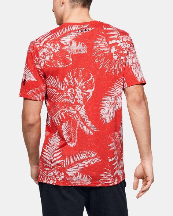 Men's Project Rock Aloha Camo Short Sleeve, Red, pdpMainDesktop image number 2