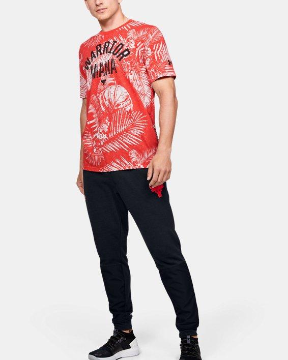 Men's Project Rock Aloha Camo Short Sleeve, Red, pdpMainDesktop image number 0