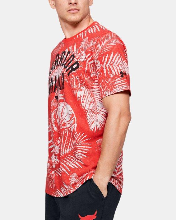 Men's Project Rock Aloha Camo Short Sleeve, Red, pdpMainDesktop image number 3