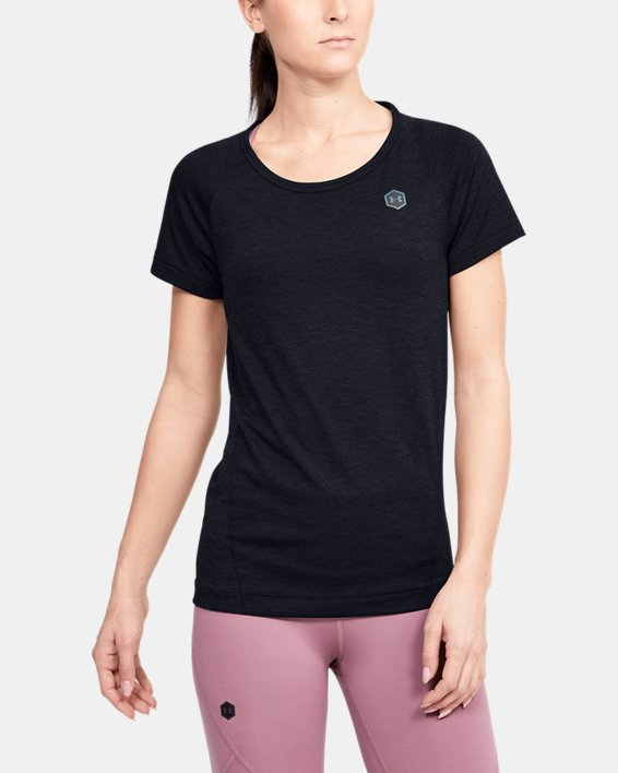 Women's UA RUSH™ Seamless Short Sleeve, Black, pdpMainDesktop image number 2