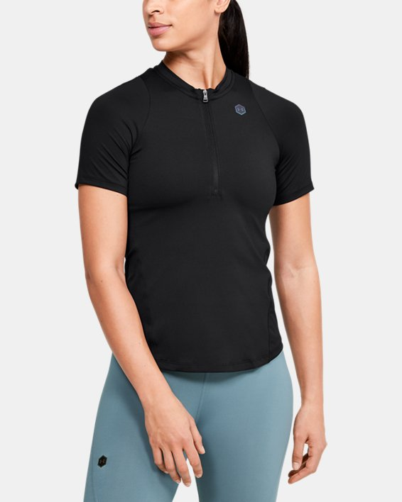 Women's UA RUSH™ Vent Short Sleeve, Black, pdpMainDesktop image number 1