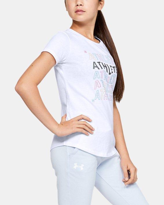 Girls' UA Athlete Graphic T-Shirt, White, pdpMainDesktop image number 3