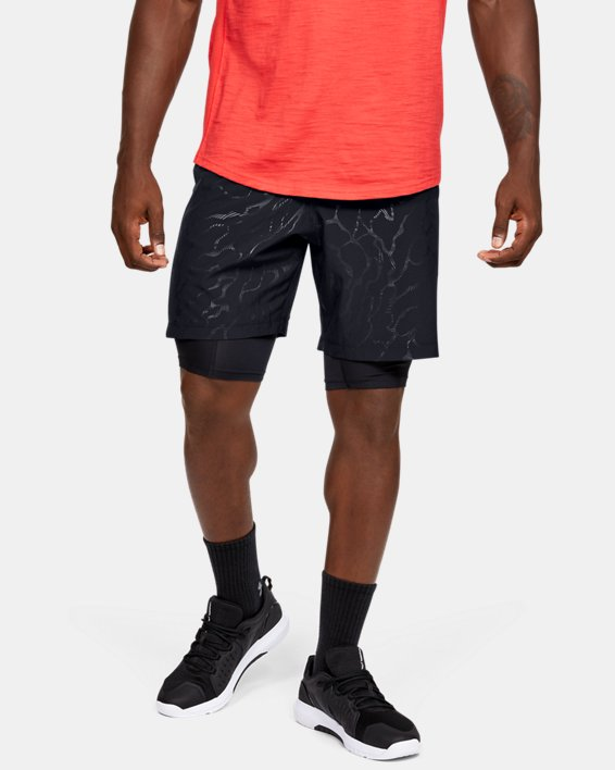 Men's UA Woven Graphic Emboss Shorts, Black, pdpMainDesktop image number 0
