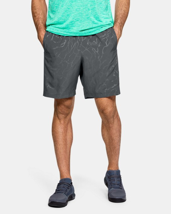 Men's UA Woven Graphic Emboss Shorts, Gray, pdpMainDesktop image number 0