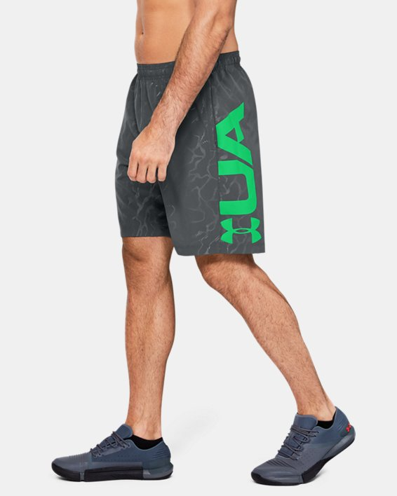 Men's UA Woven Graphic Emboss Shorts, Gray, pdpMainDesktop image number 3
