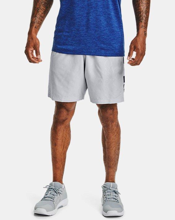 Men's UA Woven Graphic Emboss Shorts, Gray, pdpMainDesktop image number 0