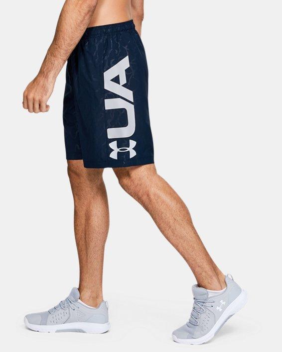 Men's UA Woven Graphic Emboss Shorts, Navy, pdpMainDesktop image number 3
