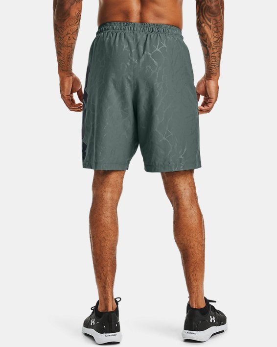 Men's UA Woven Graphic Emboss Shorts, Blue, pdpMainDesktop image number 2