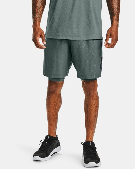 Men's UA Woven Graphic Emboss Shorts, Blue, pdpMainDesktop image number 0