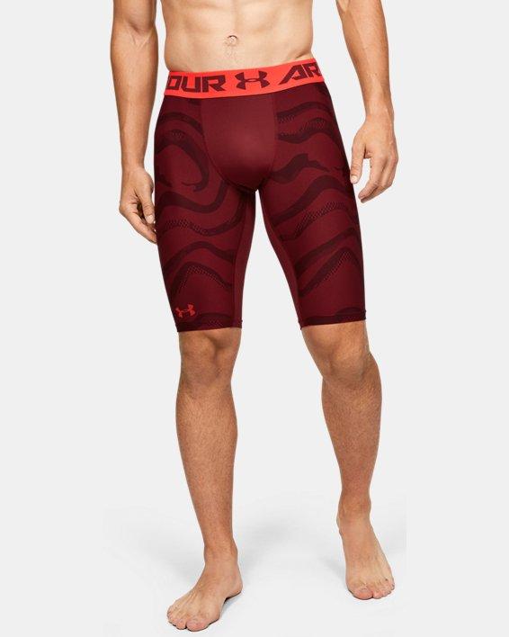 Men's HeatGear® Armour Extra Long Printed Shorts, Red, pdpMainDesktop image number 2