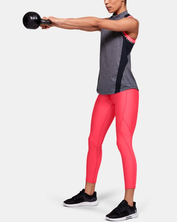 Women's HeatGear® Armour C&S Jacquard Ankle Crop, Red, pdpMainDesktop image number 1
