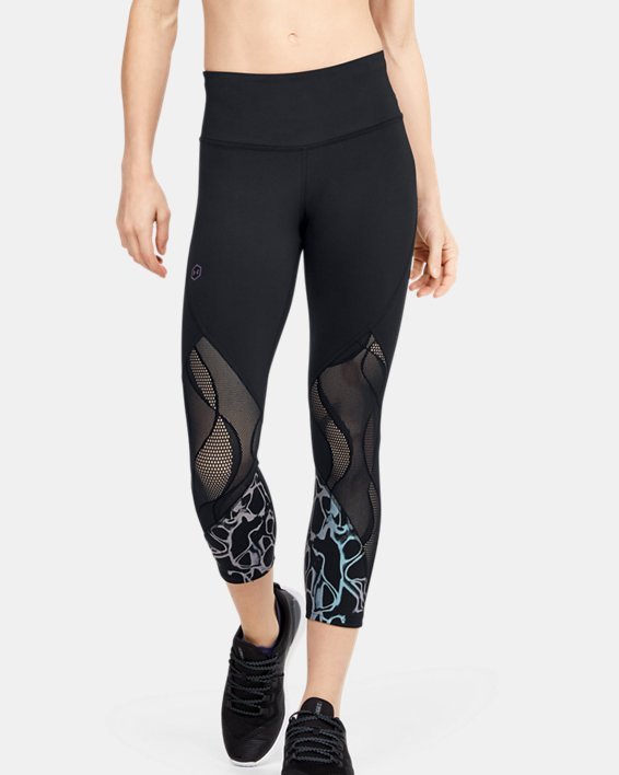 Women's UA RUSH™ Vent Iridescent Graphic Crop, Black, pdpMainDesktop image number 0