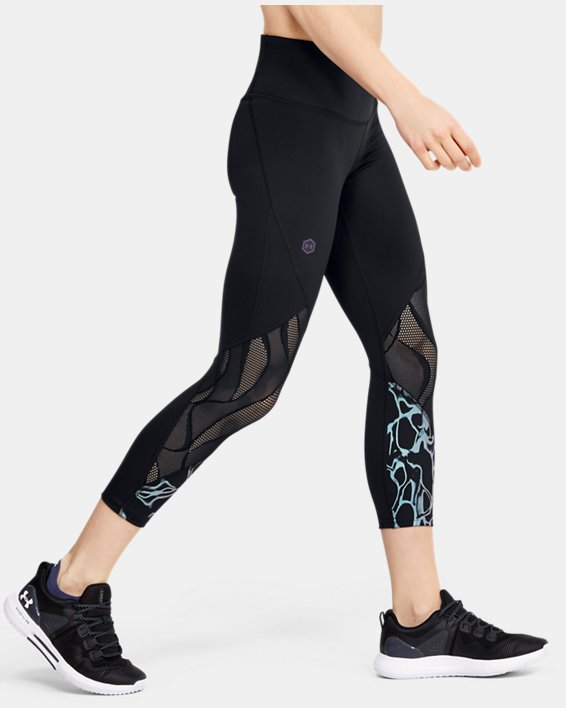 Women's UA RUSH™ Vent Iridescent Graphic Crop, Black, pdpMainDesktop image number 3