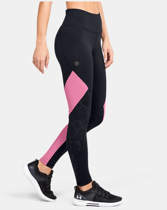 Women's UA RUSH™ Embossed Leggings, Black, pdpMainDesktop image number 3