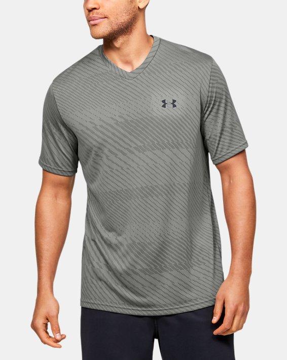 Men's UA Velocity Jacquard V-Neck Short Sleeve, Green, pdpMainDesktop image number 0