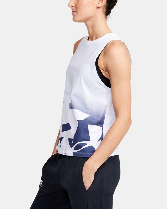 Women's UA Graphic Muscle Tank, White, pdpMainDesktop image number 3