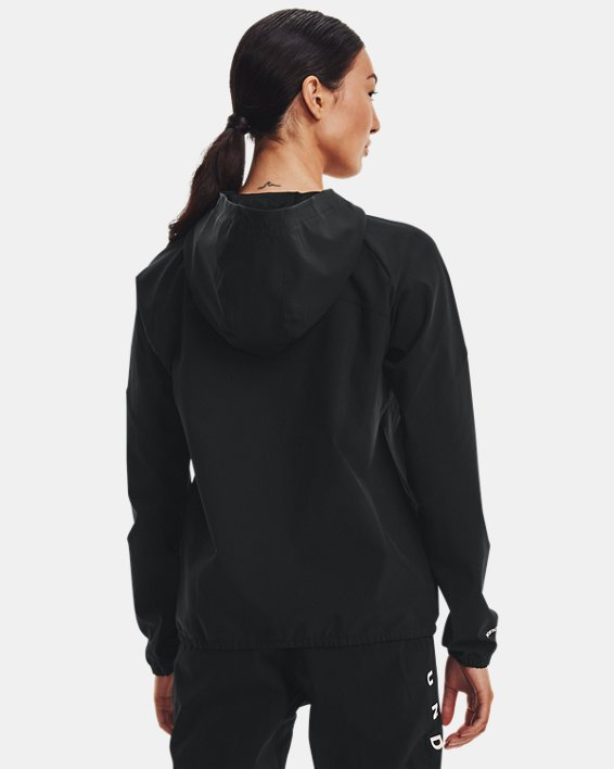 Women's UA Woven Branded Full Zip Hoodie, Black, pdpMainDesktop image number 2