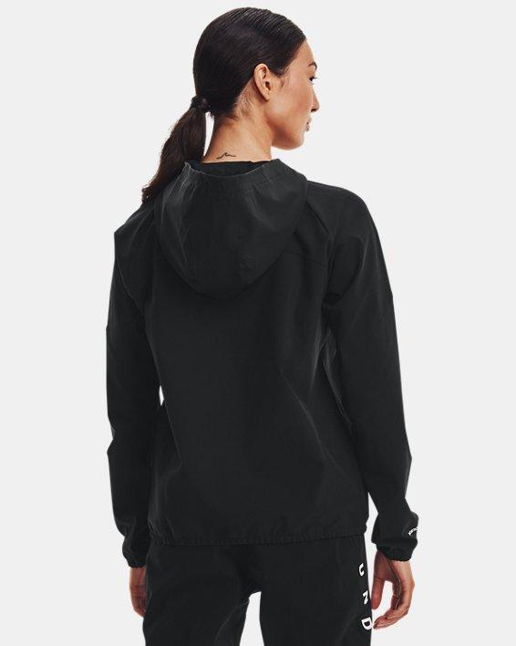 Sweat à capuche UA Woven Branded Full Zip pour femme, Black, pdpMainDesktop image number 2