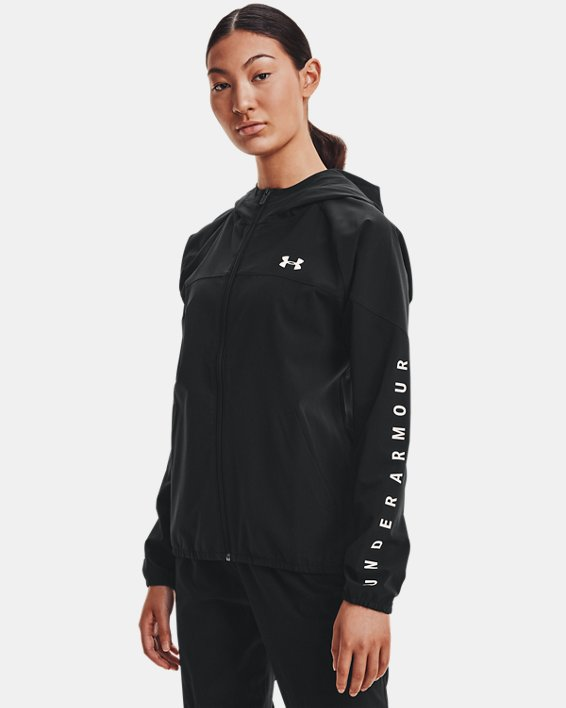 Women's UA Woven Branded Full Zip Hoodie, Black, pdpMainDesktop image number 1