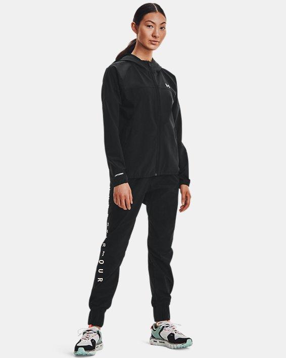 Women's UA Woven Branded Full Zip Hoodie, Black, pdpMainDesktop image number 6