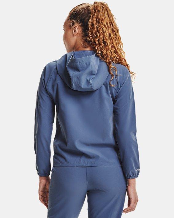 Women's UA Woven Branded Full Zip Hoodie, Blue, pdpMainDesktop image number 2