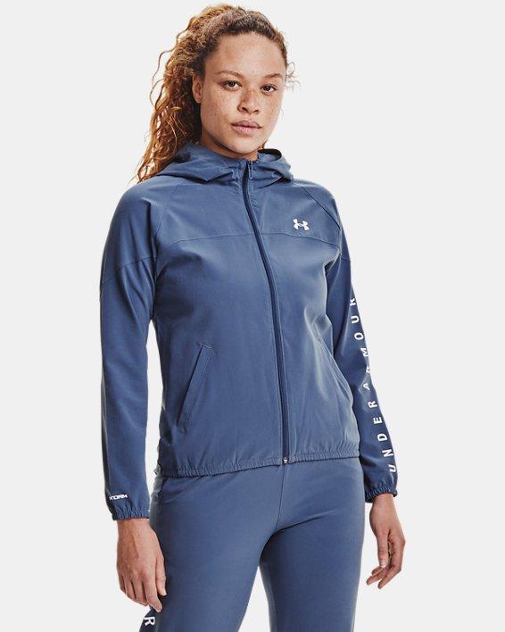Women's UA Woven Branded Full Zip Hoodie, Blue, pdpMainDesktop image number 1
