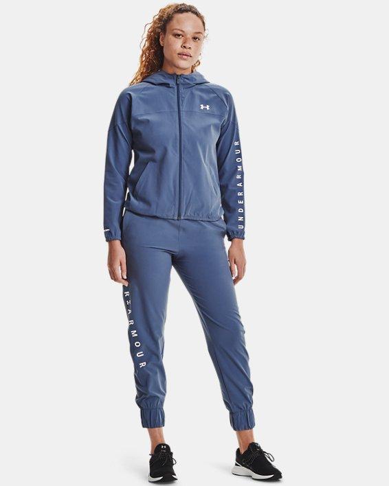 Women's UA Woven Branded Full Zip Hoodie, Blue, pdpMainDesktop image number 0