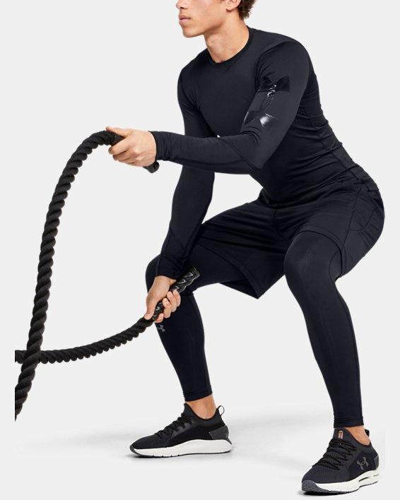 Men's HeatGear® Armour Long Sleeve, Black, pdpMainDesktop image number 1