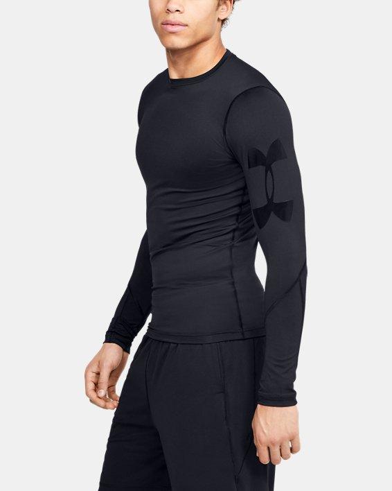 Men's HeatGear® Armour Long Sleeve, Black, pdpMainDesktop image number 3