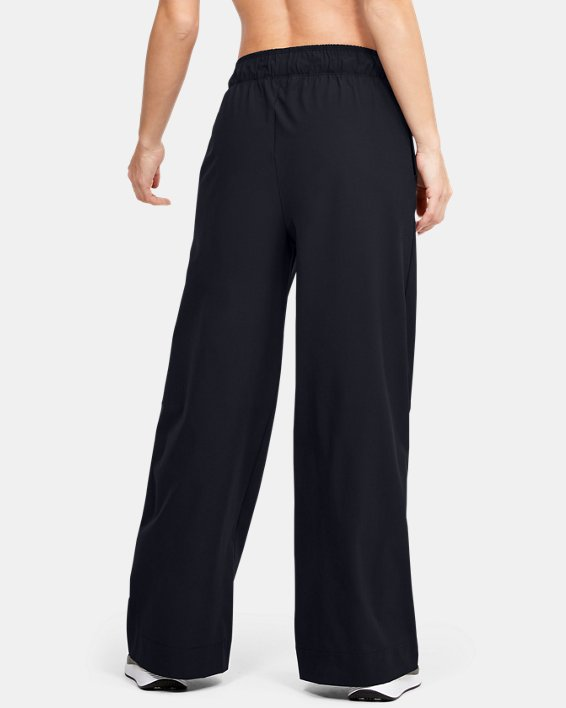 Women's UA Woven Wide Leg Pants, Black, pdpMainDesktop image number 2