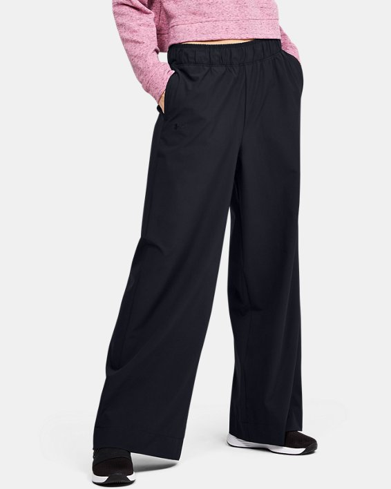 Women's UA Woven Wide Leg Pants, Black, pdpMainDesktop image number 0