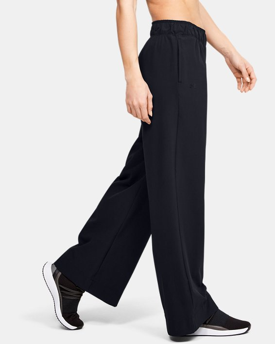 Women's UA Woven Wide Leg Pants, Black, pdpMainDesktop image number 3