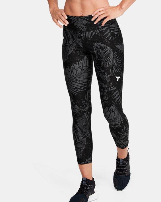 Women's Project Rock HeatGear® Armour Printed Ankle Crop, Black, pdpMainDesktop image number 0