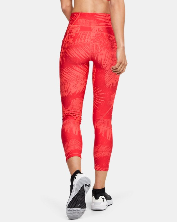 Women's Project Rock HeatGear® Armour Printed Ankle Crop, Red, pdpMainDesktop image number 2