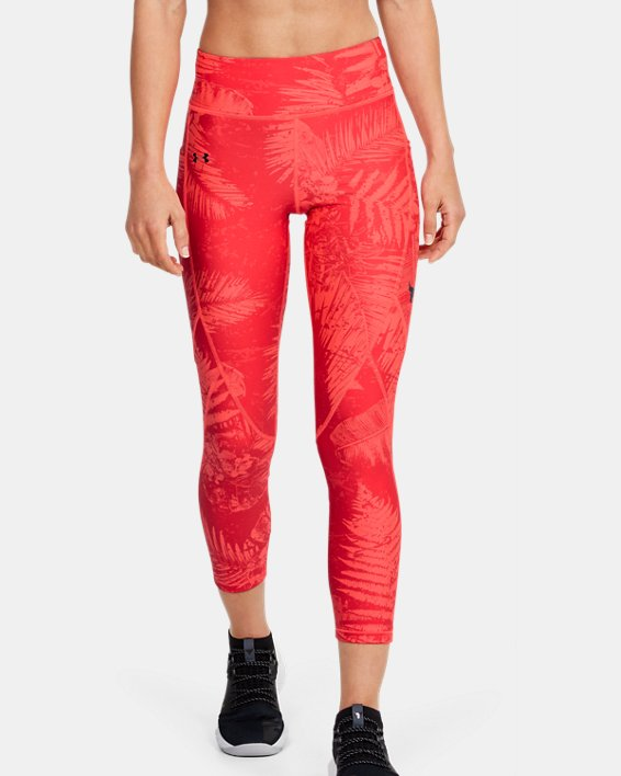 Women's Project Rock HeatGear® Armour Printed Ankle Crop, Red, pdpMainDesktop image number 0