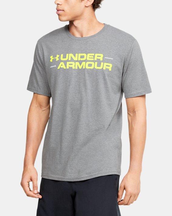 Men's UA Branded Wordmark Graphic Short Sleeve, Gray, pdpMainDesktop image number 0