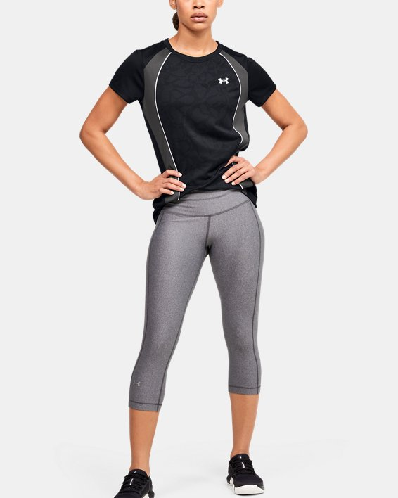 Women's UA Tech™ Jacquard Short Sleeve Crew, Black, pdpMainDesktop image number 1