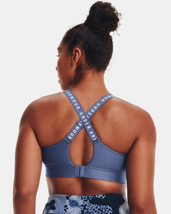 Women's UA Infinity Mid Sports Bra, Blue, pdpMainDesktop image number 6