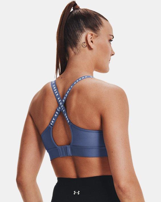 Women's UA Infinity Mid Sports Bra, Blue, pdpMainDesktop image number 5