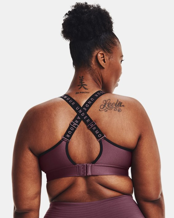 Damen UA Infinity Mid Sport-BH, Purple, pdpMainDesktop image number 6