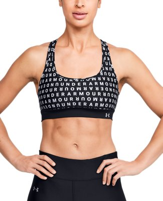 Under Armour Womens Crossback Print Blue Ladies Mid Gym Training Sports Bra S